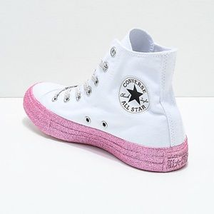 Converse CTAS Hi Rise Pink Glitter Bottom Shoes